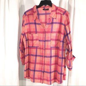 Pretty Pink Purple Plaid Shirt, Size XL